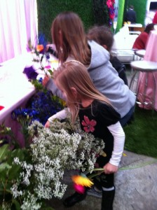 Choosing just the right flowers for their bouquets!